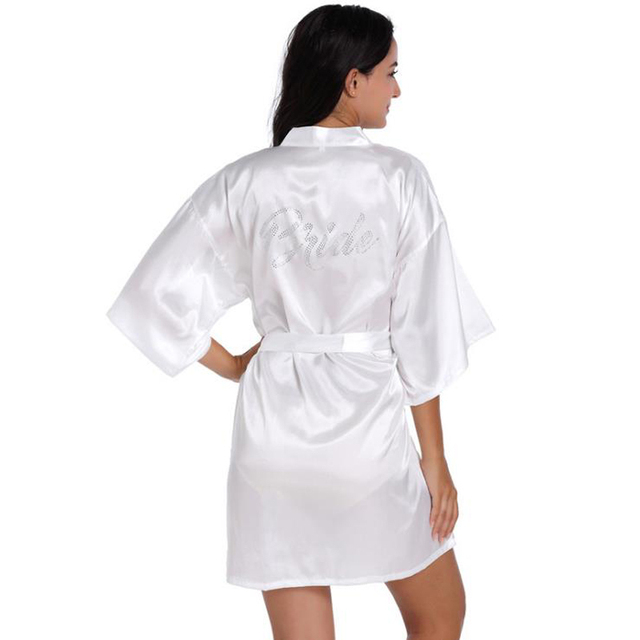 Robe Wedding Bride Women Sleepwear nightwear White Bridal Dress ...