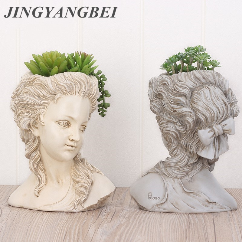 Succulent Plant Flower Pot Head Portrait Elegant Greek Goddess Bonsai Planter Garden Pots Hand Crafts Home Desktop Decoration