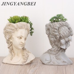 Suculentas plantas maceta cabeza retrato elegante diosa griego bonsái maceta jardín macetas artesanías hogar Decoración de escritorio