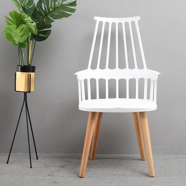 Modernes Design Kunststoff Shell Und Holz Esszimmerstuhl Wohnzimmer  Freizeit Stuhl Cafe Loft Stuhl Beliebt Moderne