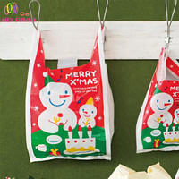 HEY FUNNY 100pcs Lot Red Merry Christmas Vest Bags 18x35 Gift Bags Cookie Packaging Plastic Bags