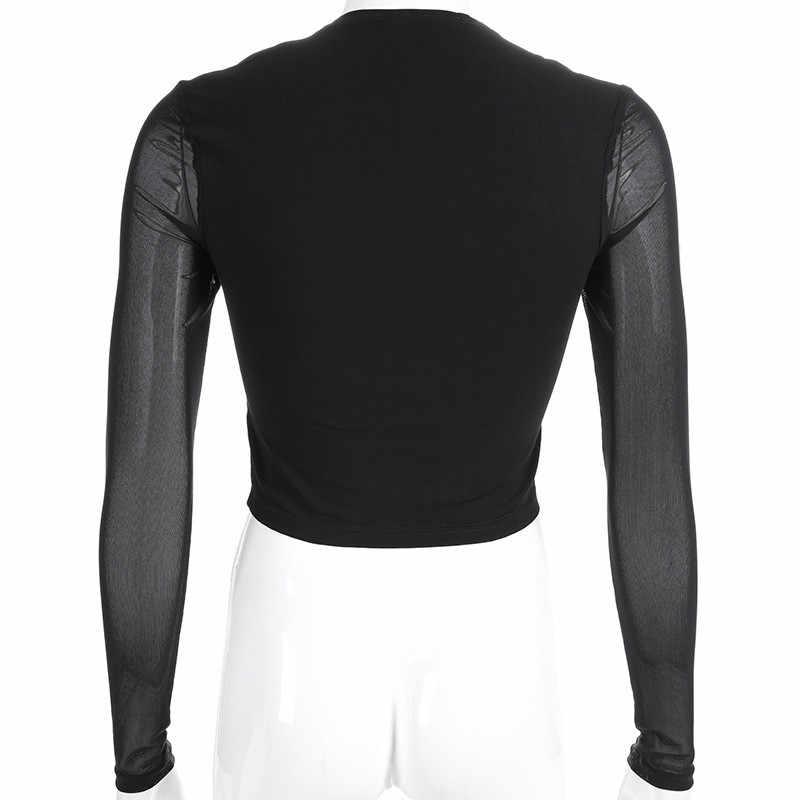 Сексуальная черная сетка пэчворк футболка женская элегантная квадратная рубашка с длинными рукавами Базовые укороченные женские топы лето осень уличная одежда Топ