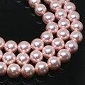 Factory outlet imitación pink shell de la perla redonda suelta perlas 4-14mm joyería que hace al por mayor de moda de alta calidad 15 pulgadas B1613