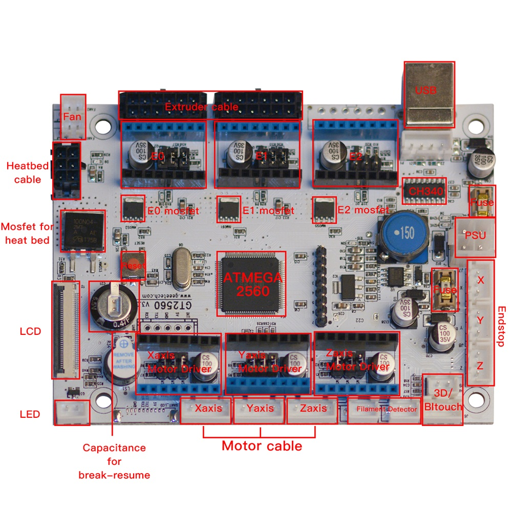 Купить с кэшбэком GEEETECH GT2560 V3.0 Motherboard used for A10, A10M, A20 and A20M 3D printers