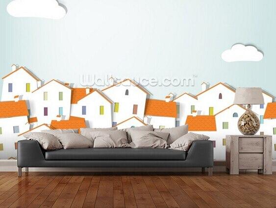 Keuken Voor Kinderen : Custom kind behang panorama town d mural voor meisjes kamer