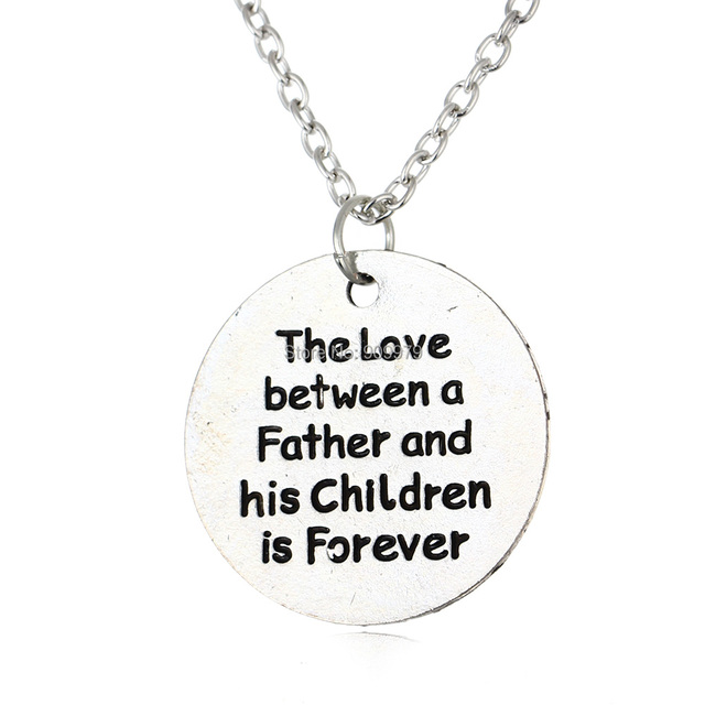 The Love Between a Father and his Children is Forever Silver Plated Pendant Necklace for Family Dad Father's Day Men Jewelry