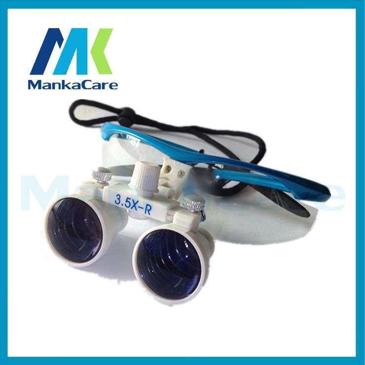 Bonne qualité 3.5X temps dentaire chirurgical binoculaire Loupes loupe lunettes 100% original chirurgical optique verre blanc et bleu