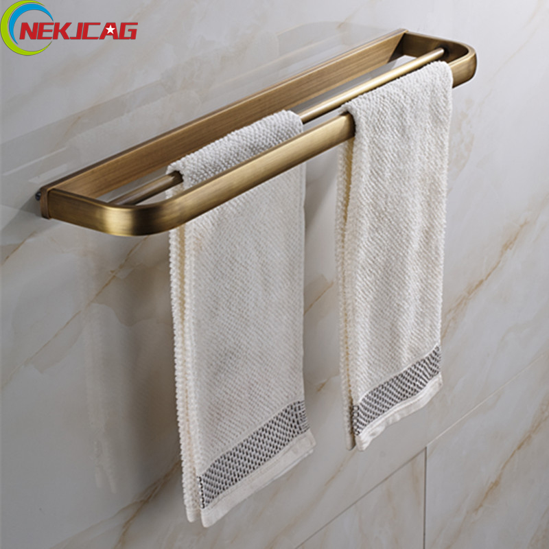 Luxury Wall Mounted Antique Brass Oil Rubbed Bronze Double Towel Bars Bathroom Towel Holder luxury artistic towel bar single towel holder wall mounted bathroom towel rail rod oil rubbed bronze finish