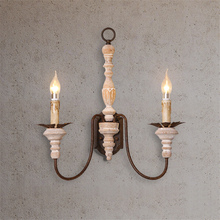 Vintage Wood LED Wall Lamps Bedroom Sconce Lamps Living Room Wall Lights Hotel Lobby Sconce Lights Decoration Lighting Fixtures недорого