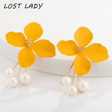 Lost Lady Fashion Simulated Pearl Earrings For Women Wedding Party Jewelry Vintage Flower Korean Stud 2019 New