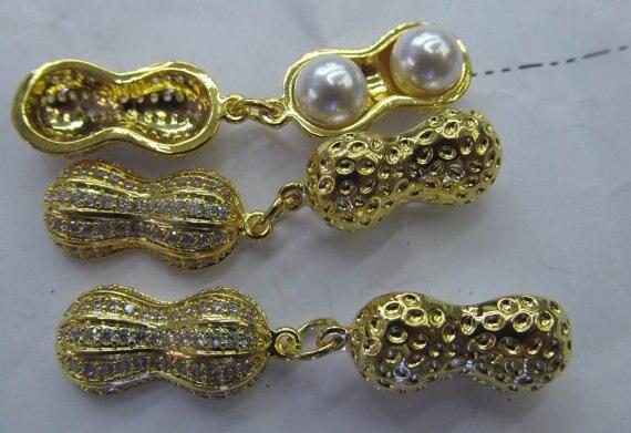 Fermoir et crochets de bijoux en or 24 K Micro pavé de zircons cubiques, connecteur de perles de tête d'arachide pavé 40mm 2 pièces