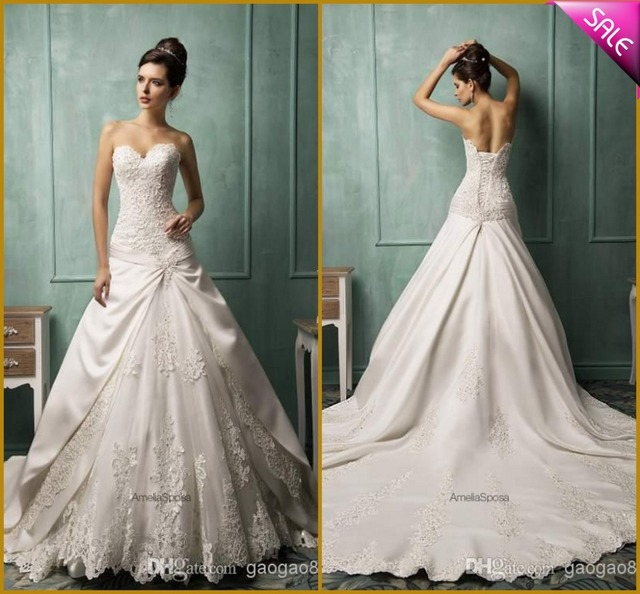 Modern Sweetheart Corset Lace Vintage Wedding Dress 2015 Chapel Train Bridal Gowns