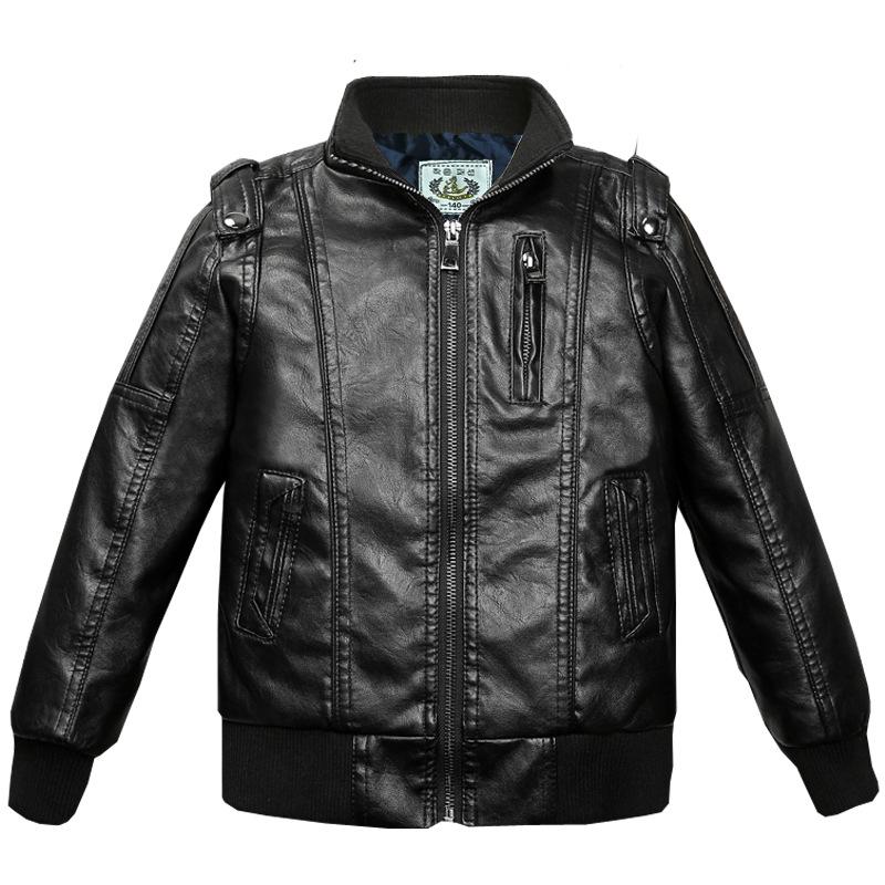 Boys' leather Jackets Children Plus velvet padded zipper Coats big Boys jacket black wine red Outwear Kids Fashion Jackets