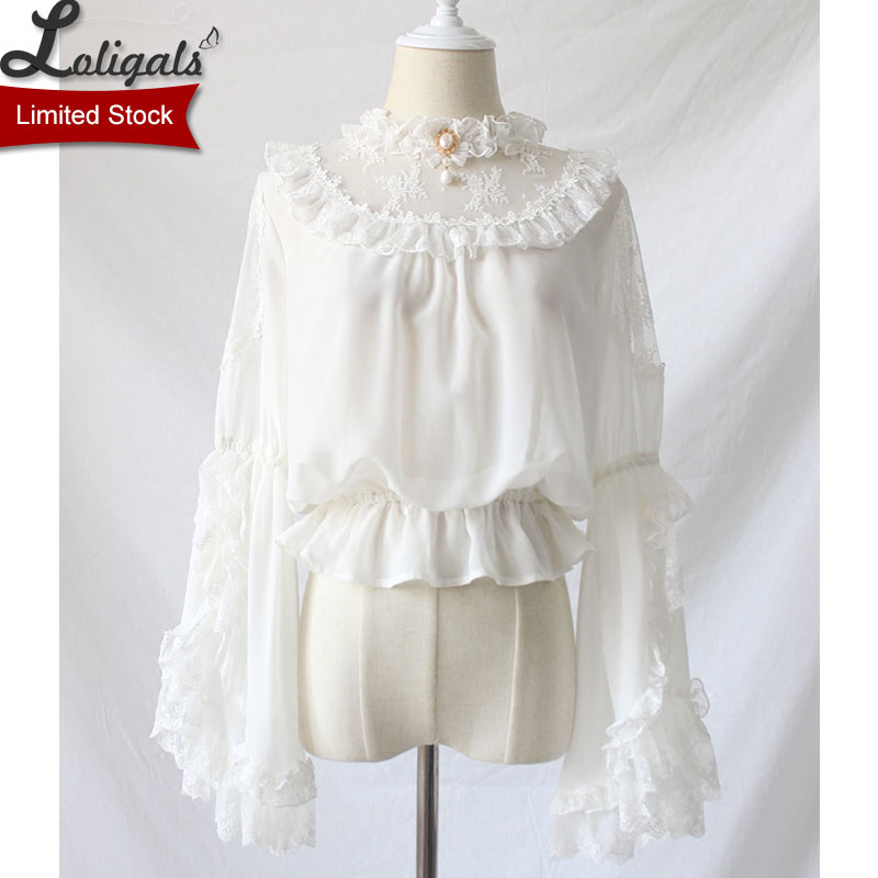 Gothic Victorian Style Women s Chiffon Top Sheer Ruffle Neck Flare Sleeve Black White Lolita Blouse