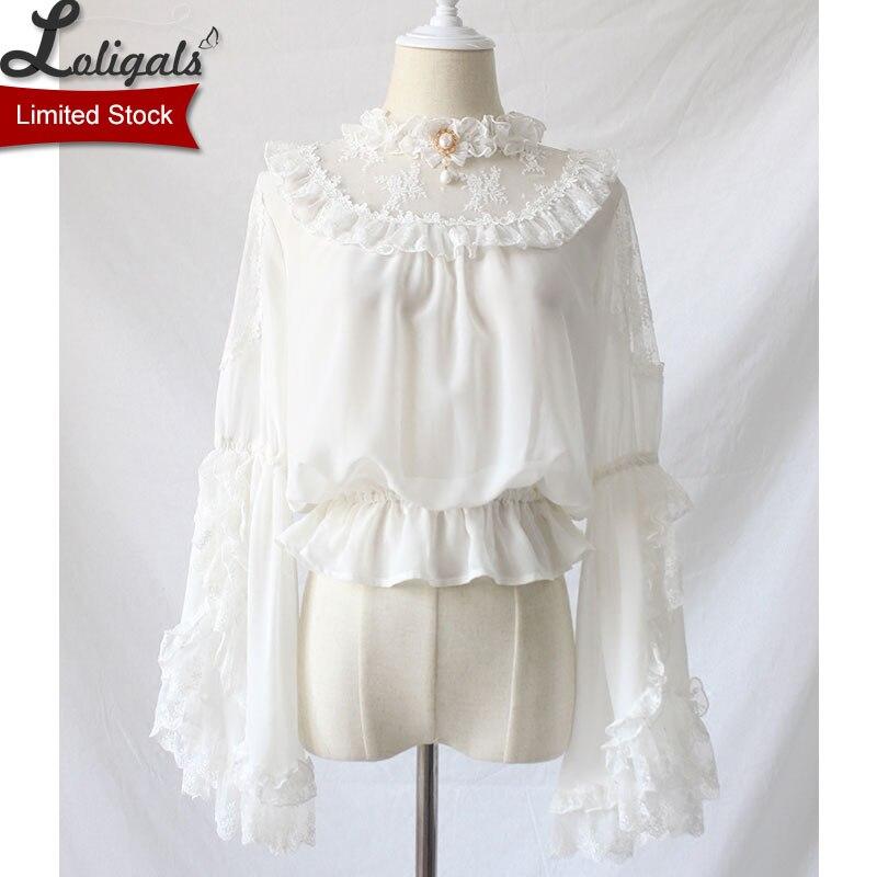 Gothique Style victorien femmes mousseline de soie haut transparent à volants cou Flare manches noir/blanc Lolita Blouse par Alice fille