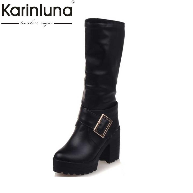KarinLuna Big Size 34-43 mid-calf Boots Women Buckle Platform Shoes Women black brown Warm Square high Heels winter Boots цена 2017
