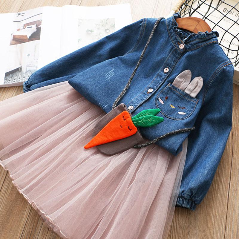 Menoea Children Clothing Suits 19 Autumn Fashion Style Girl Cowboy Long-Sleeve Mesh Dress Design For 3-8Y Kids Girls Sets 6