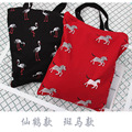 Free Shipping Casual Canvas Shopping Bags Black Red Color With Animal Pattern Women Handbags Shoulder Bags Shopping Bag E19