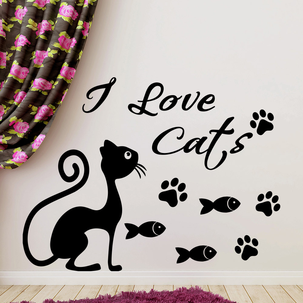 I Love Cat Quotes With Cute Cat Silhouette Wall Stickers Home Bedrooms Special Decor Vinyl Wall Murals With Fish Patterns Wm-444