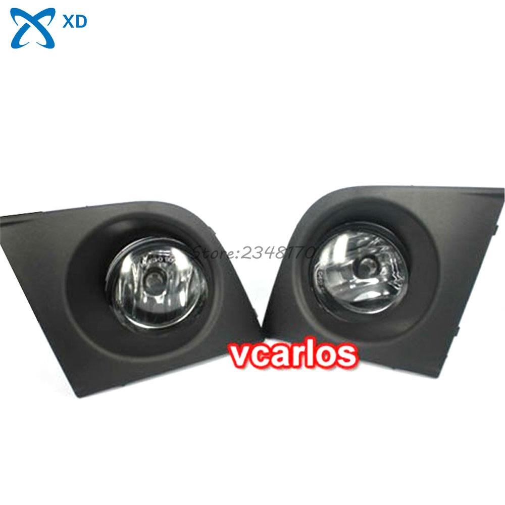 Fog lights Lamp For Nissan Tiida Latio 2005~2008 Clear Lens Pair Set With Wiring Kit Fog Light Set Car Lights Source for opel astra h gtc 2005 15 h11 wiring harness sockets wire connector switch 2 fog lights drl front bumper 5d lens led lamp