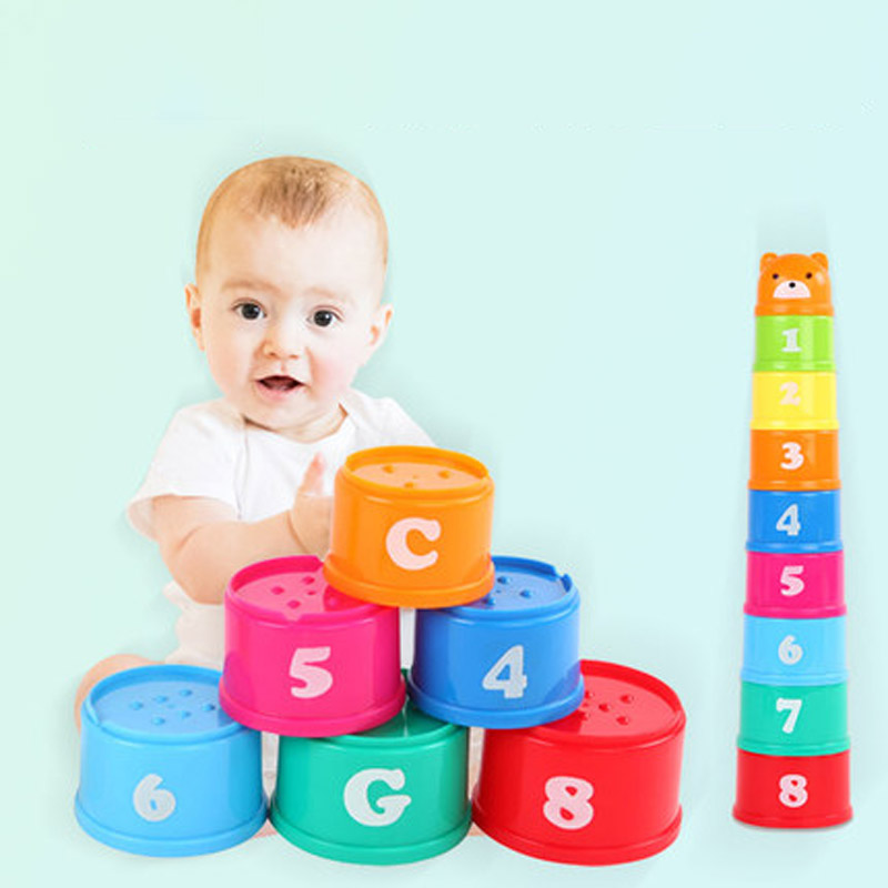 9PCS Mini Bear Stack Cup Educational Baby Toys Rainbow Color Figures Folding Tower Funny Piles Cup Letter Toy For Kids