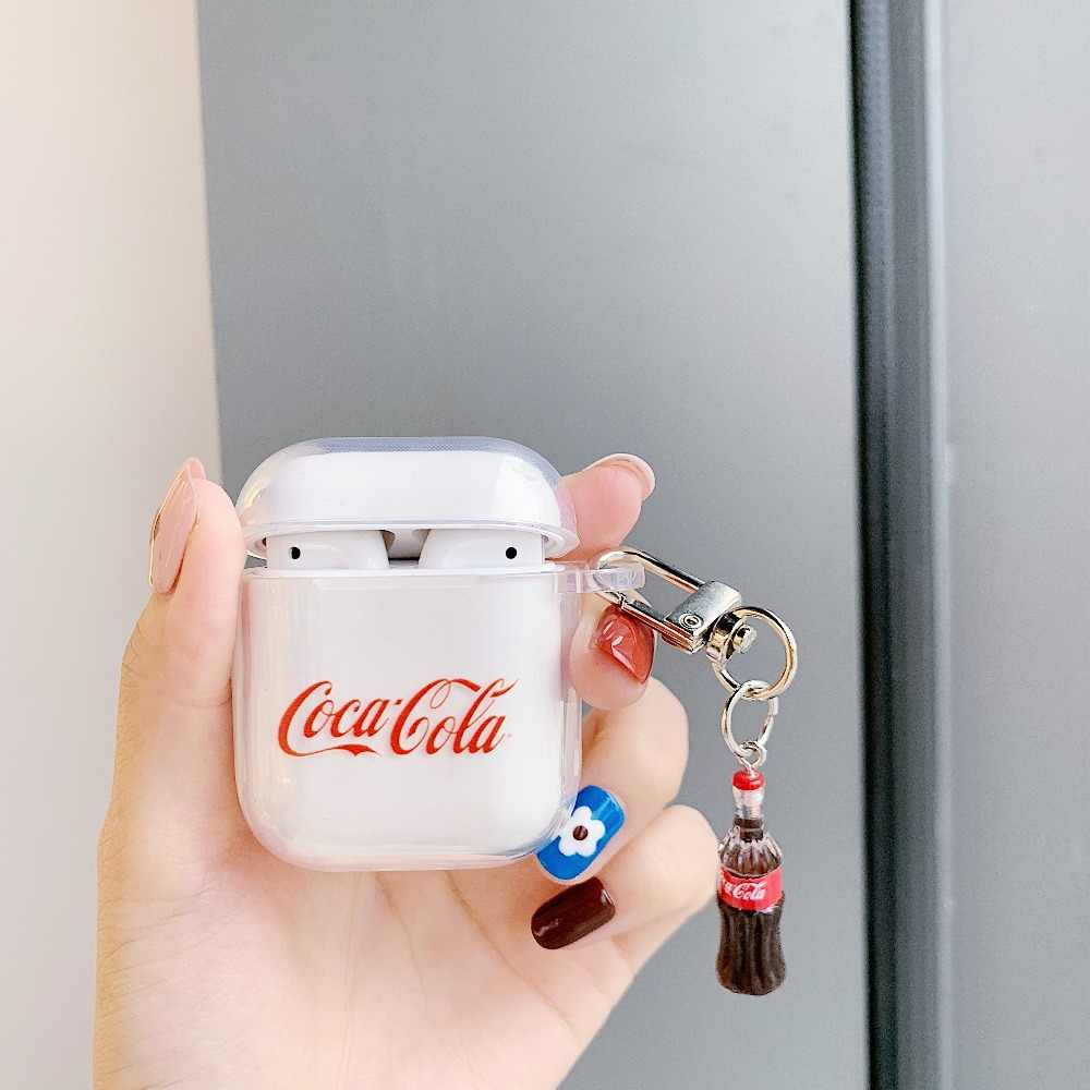 wholesale dealer 05572 10d8c Cute Coke Evian Coffee Pendant Cartoon Wireless Bluetooth Earphone Case For  Apple AirPods Silicone Charging lucency