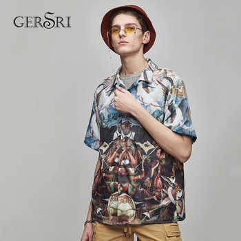 Gersri Trendy Hawaiian Shirt For Men Loose Holiday Tops Male Fashion Cartoon Printed Turn-down Collar Short Sleeve - DISCOUNT ITEM  49% OFF All Category
