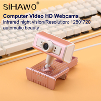 720P Automatic Beauty Webcam Network Anchor Camera 1280*720 360 Degrees For Desktop PC Household Infrared Night Vision USB HD