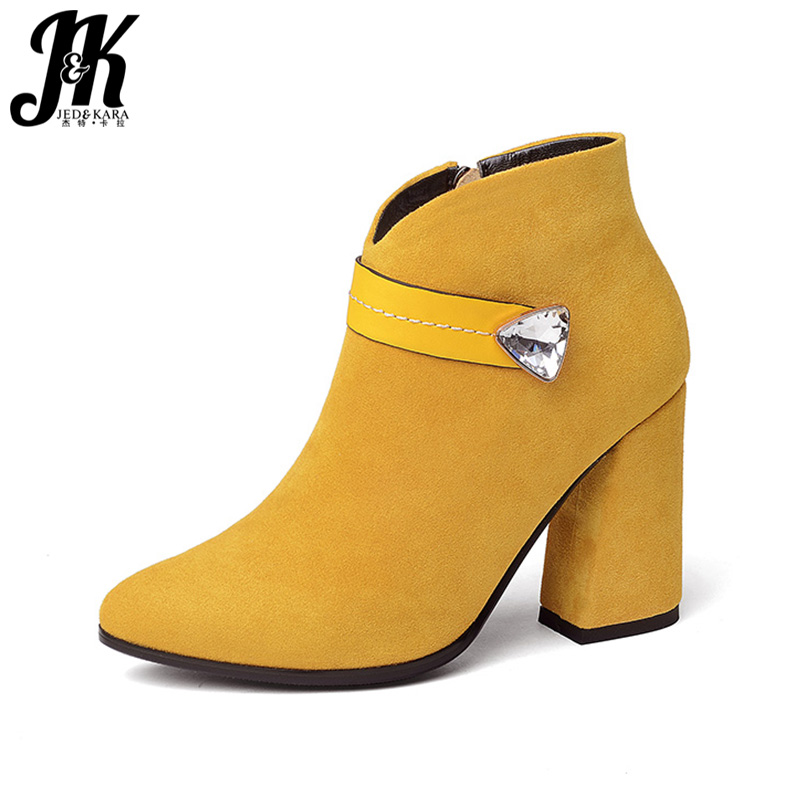 f7afebc0221b JK 2018 Fashion Model Woman Ankle Boot Thick High Heels Shoes Lady Crystal  Faux Suede Autumn