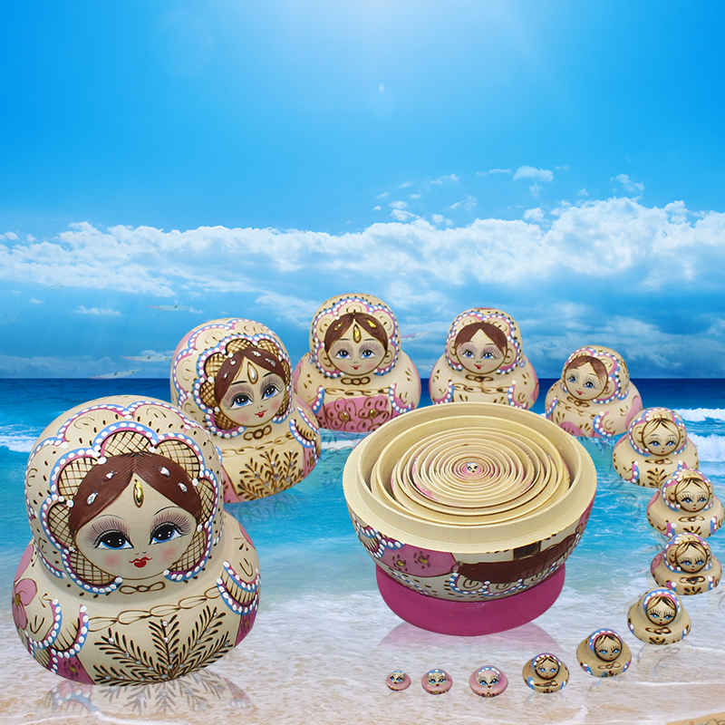 15pcs/set Matryoshka Doll Hand-painted Russian Nest Doll Wooden Toys Handicrafts Education Toys Baby Birthday Kids