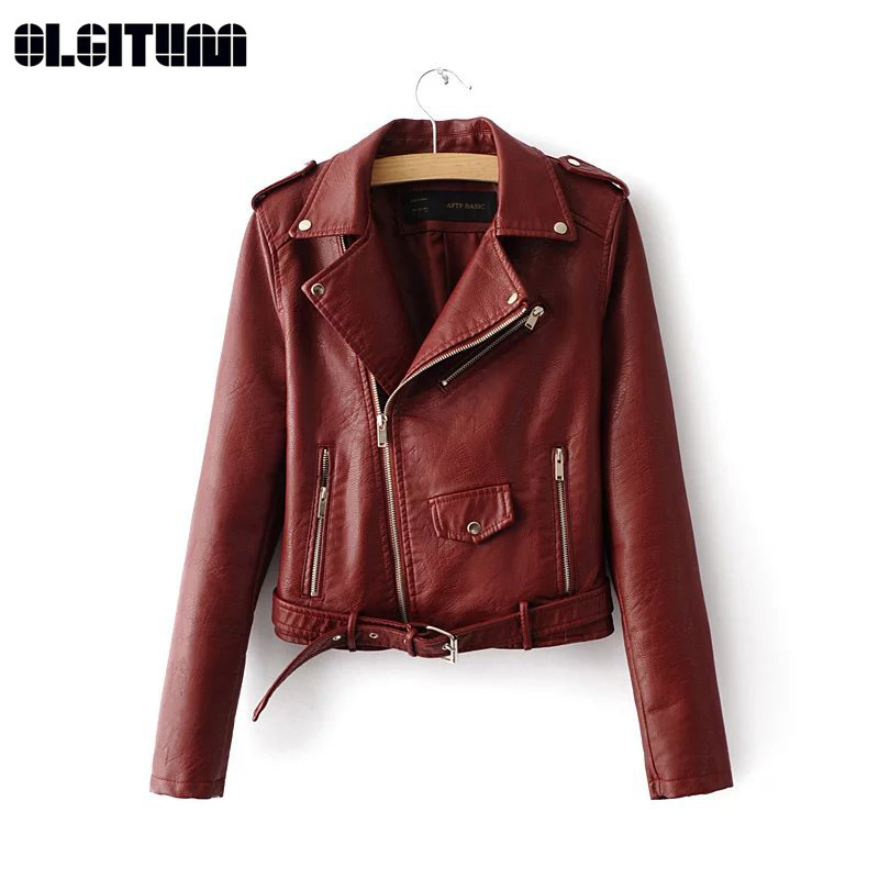 New 2018 Autumn Winter Short Faux   Leather   Jacket Basic Women Coat Women Fashion Motor PU Zipper   Leather   Jacket XS-XL