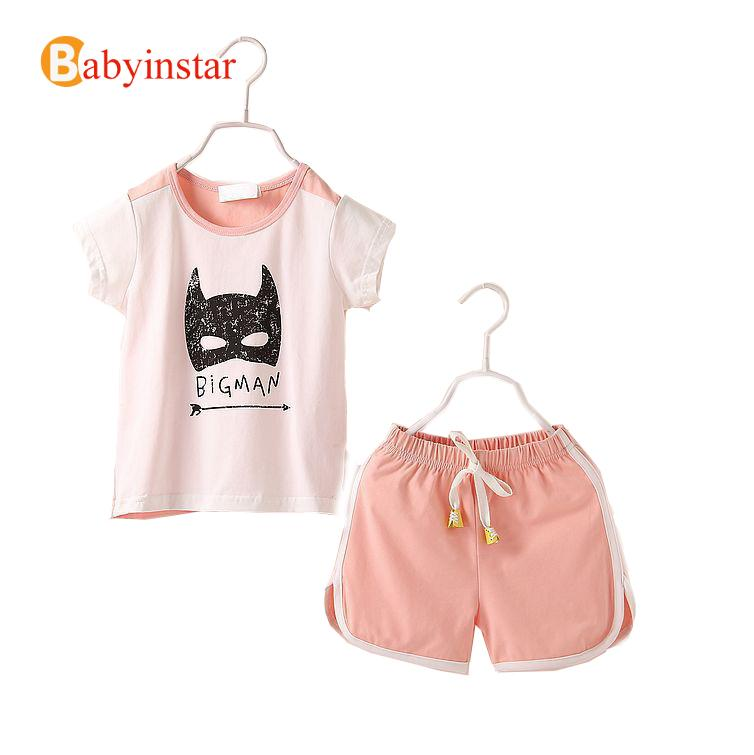 New Arrival 2017 Children Suit Summer Short Sleeve Cotton Batman Pattern t shirt + Shorts Casual Kids Girl Clothing Set 2017 new children