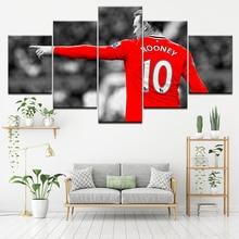 Canvas Painting football start Wayne Rooney 5 Pieces Wall Art Painting Modular Sport Wallpapers Poster Print Home Decor