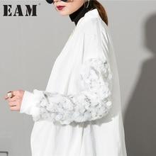 [EAM] 2017 новые зимние уличные пальто белый блестками воротник с длинными рукавами свободные большие размеры жакет на молнии женская обувь оптом AS17301