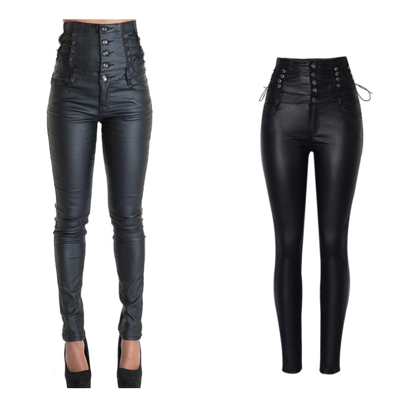 Coated High Waiste Jeans Motorcycle Super High Rise Skinny Jeans Women Stretch Shaping Hip Jeans Bandages Pencil Pants For Women