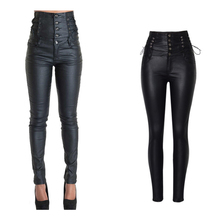 f3ddaaf4b3300 byoucosy Coated High Waiste Motorcycle Super Rise Skinny Jeans Women  Stretch Shaping
