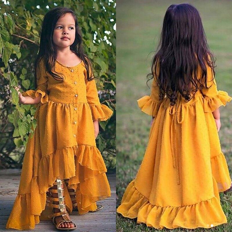 все цены на Kid Baby Girl Dress Boho Beach Dress Half Sleeve Ruffle Princess Party Summer Dress Children Clothing