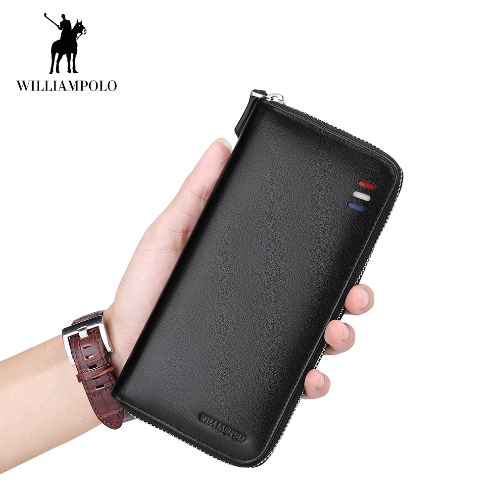 WilliamPOLO Men's Clutch Bag Handbag Long Wallet Business Organizer Checkbook Genuine Leather Purse Multi Card Case Holder 35 цена 2017