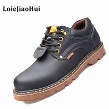 Big Size Fashion Men Casual Leather Shoes Work Safety Boots Sewing Rubber Shoes Men Business Ankle Boots Male Lace-up NS074
