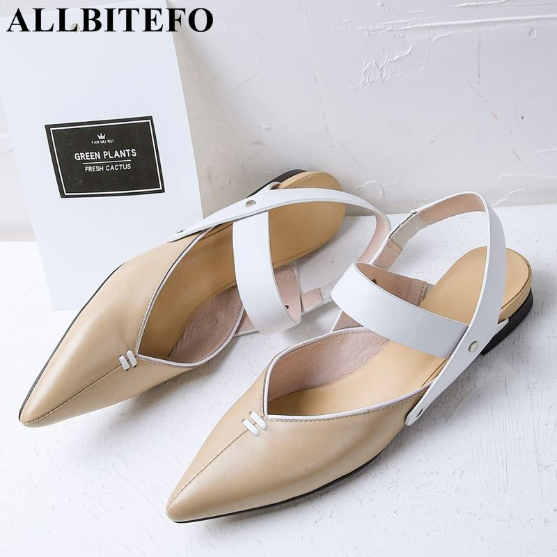 ALLBITEFO natural genuine leather pointed toe low heel shoes  women sandals summer cool sandals girls shoes sandals womanALLBITEFO natural genuine leather pointed toe low heel shoes  women sandals summer cool sandals girls shoes sandals woman