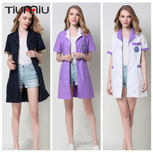 Summer New Arrive V-Neck Doctor Clothing Unisex Hospital Clinic Medical Uniform Beauty Salon Lab Coat Short Sleeve Nurse