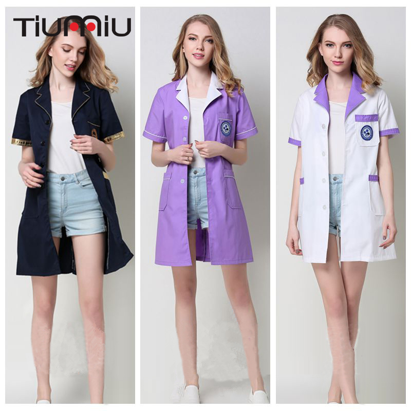 Summer New Arrive V Neck Doctor Clothing Unisex Hospital Clinic Medical Uniform Beauty Salon Lab Coat Short Sleeve Nurse Uniform