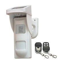 Простой Открытый Солнечный PIR Detector Alarm Motion Sensor with Sound and Flash Напоминание, Домашних животных, постановка/Снятие С Охраны с помощью Дистанционного Управления