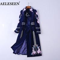 AELESEEN Long Embroidery Blue Windbreaker 2018 Autumn Winter Turn down Collar Long Sleeve Women's Cozy Warm Velvet Coat Overwear