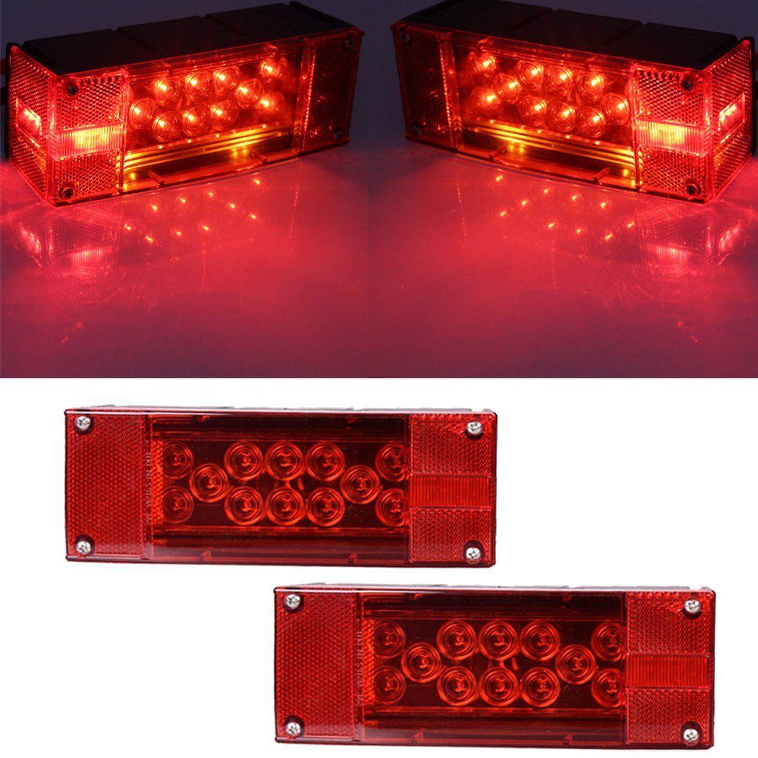 12V LED Thin Rectangular Trailer Lamp Kit Taillight Stop Rotate Boat Trailer Transport Light Marine yamaha led trailer light kit