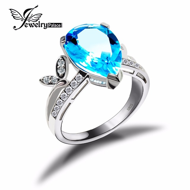 Genuine Tear Drop Blue Topaz Ring Solid 925 Sterling Silver Fashion Bijouterie Natural Gemstone Charm Vintage Jewelry Crystal