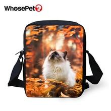 WHOSEPET Women Shoulder Bags Leaves Cats Prints Cross Body Messenger Fashion Lady Mini Flap Postbags Cool Girls School
