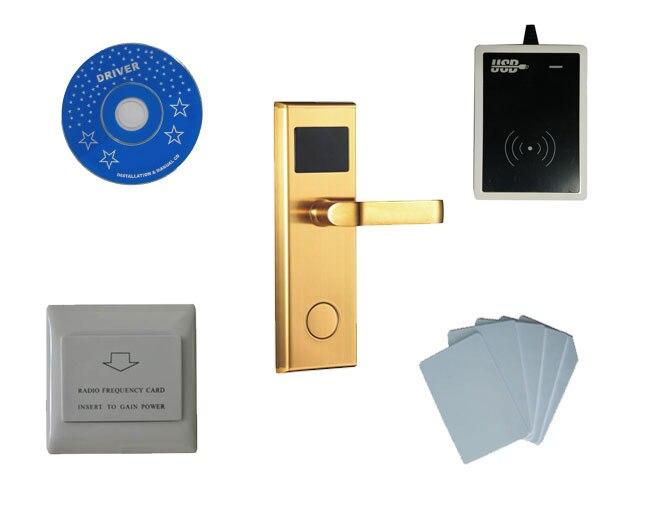 Hôtel système de verrouillage kit, l'échantillon comprend T5577 hôtel serrure, usb lecteur de codeur, commutateur d'économie d'énergie, T5577 carte à puce, sn: 8001-kit