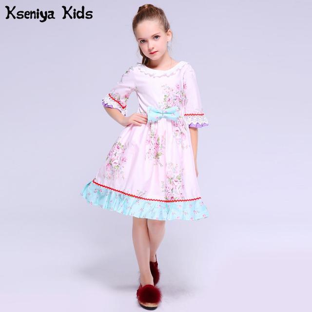 Kseniya Kids Baby Dress Winter Petal Long Sleeve Princess Pink Floral Enfant Children Girls Pageant Vintage Toddle Cute Dresses