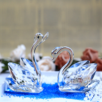JQJ Pair of Crystal Swan Figurine Glass Miniature Animal Paperweight Wedding Favors Gifts Articles Craft for Home Decoration
